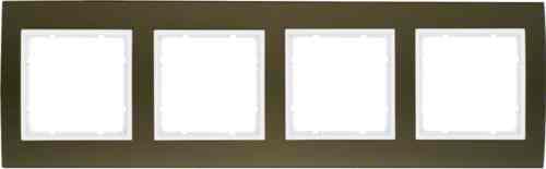 Рамкa четверная B.3, алюминевая, коричневый/полярная белизна 10143021