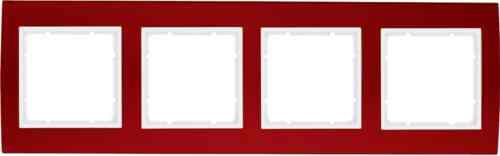 Рамкa четверная B.3, алюминевая, красный/полярная белизна 10143022
