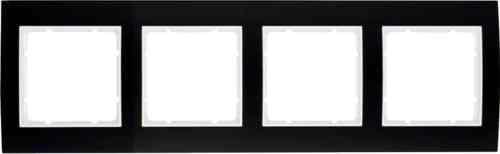 Рамкa четверная B.3, алюминевая, черный/полярная белизна 10143025