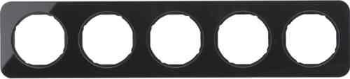 Рамка 5 местная стекляная, Berker R1, черная, 10152116