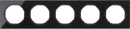 Рамка 5 местная стекляная, Berker R3, черная, 10152216