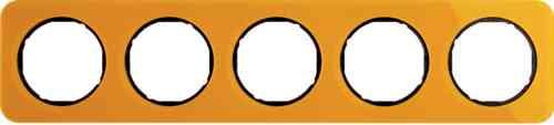 Рамка пятерная R1, акрил оранжевый черная вкладка, 10152334