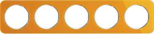 Рамка пятерная R1, акрил оранжевый белая вкладка, 10152339