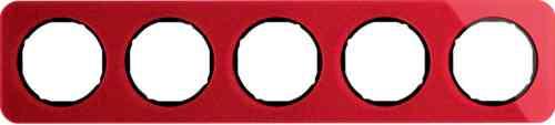 Рамка пятерная R1, акрил красный, черная вкладка, 10152344
