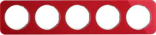 Рамка пятерная R1, акрил красный, полярная белизна, 10152349