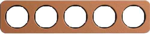 Рамка пятерная R1, кожа черная вкладка, 10152364