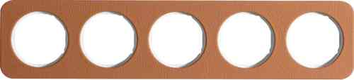 Рамка пятерная R1, кожа белая вкладка, 10152369