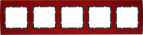 Рамкa пятерная B.3, алюминевая, красный/антрацит 10153012