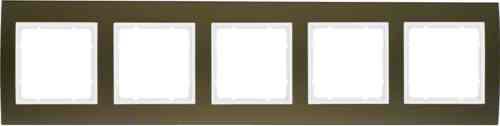Рамкa пятерная B.3, алюминевая, коричневый/полярная белизна 10153021