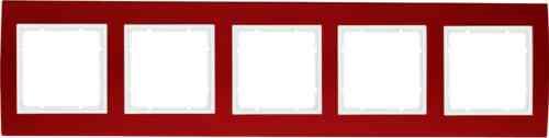 Рамкa пятерная B.3, алюминевая, красный/полярная белизна 10153022