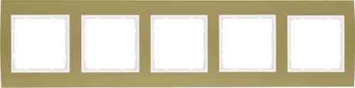 Рамкa пятерная B.3, алюминевая, золото/полярная белизна 10153046