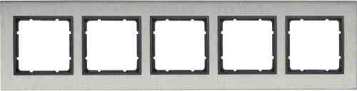Рамка пятерная вертикальная B.7 металл нержавеющая сталь, антрацит 10153606