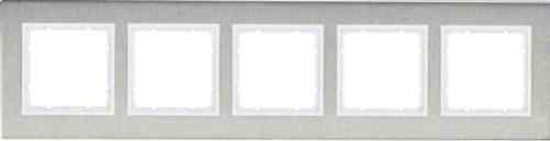 Рамка пятерная вертикальная B.7 металл нержавеющая сталь, полярная белизна 10153609