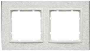 Рамка двойная горизонтальная B.7 металл нержавеющая сталь, полярная белизна 10223609