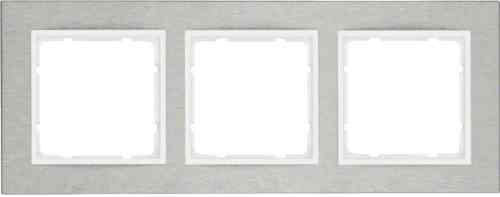 Рамка тройная горизонтальная B.7 металл нержавеющая сталь, полярная белизна 10233609