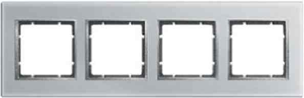 Рамка четверная горизонтальная B.7 металл нержавеющая сталь, полярная белизна 10243609