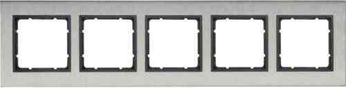 Рамка пятерная горизонтальная B.7 металл нержавеющая сталь, антрацит 10253606