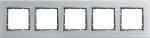 Рамка пятерная горизонтальная B.7 металл нержавеющая сталь, полярная белизна 10253609