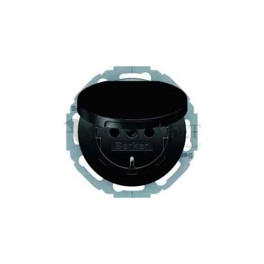 Розетка электрическая с заземлением с крышкой 16 А 250 В, Berker R.classic черный глянцевый 47442045